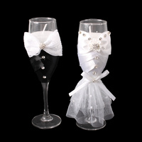 WEDDING HIS & HERS CHAMPAGNE GLASS CANDLE HOLDERS