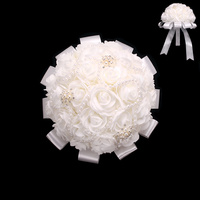 PEARL RIBBON ROSE WEDDING BOUQUET