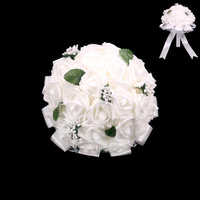 ROSES LEAVES LACE WEDDING BOUQUET