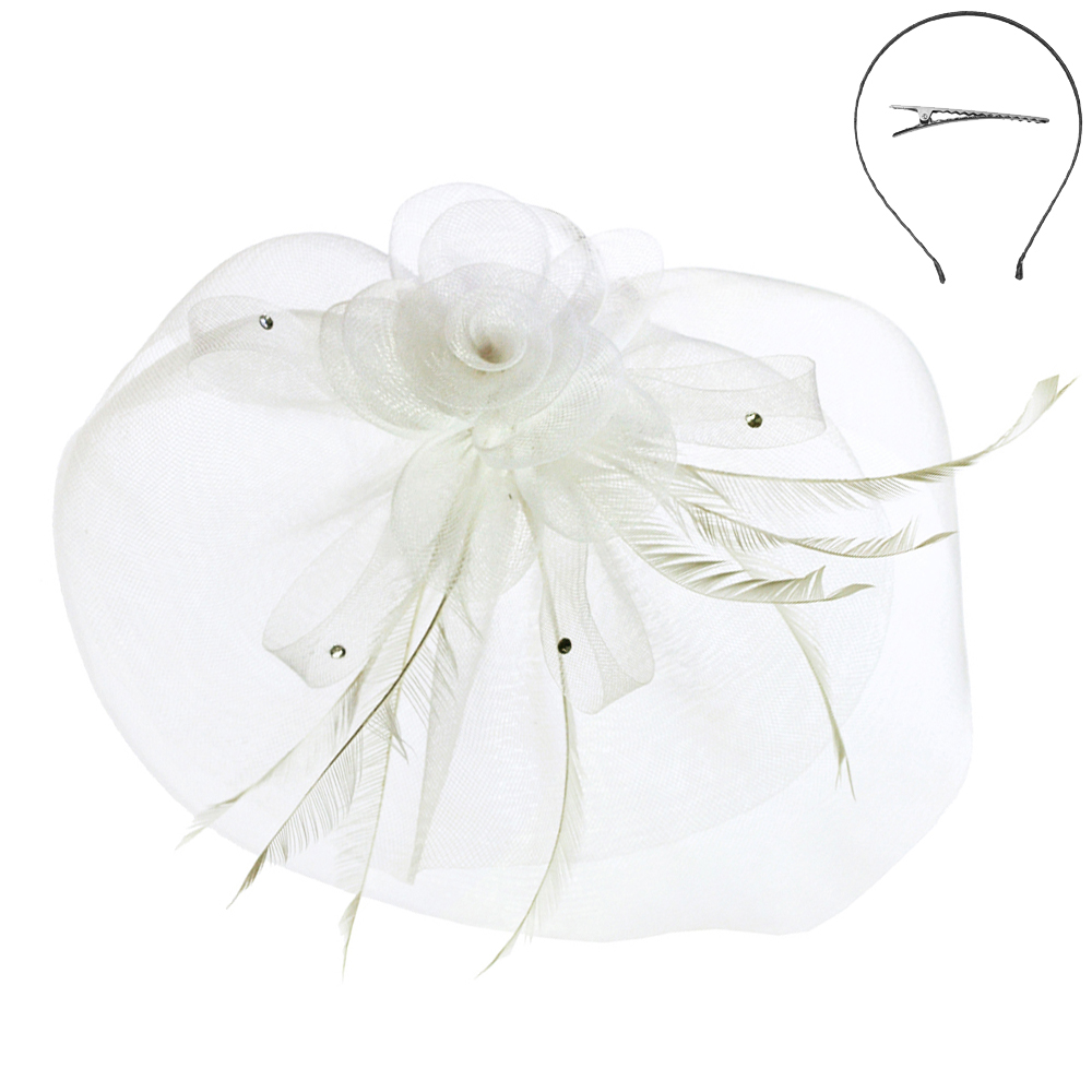 Ft4 Wh White Cute Headband Fascinator With Flower Mesh Fascinators