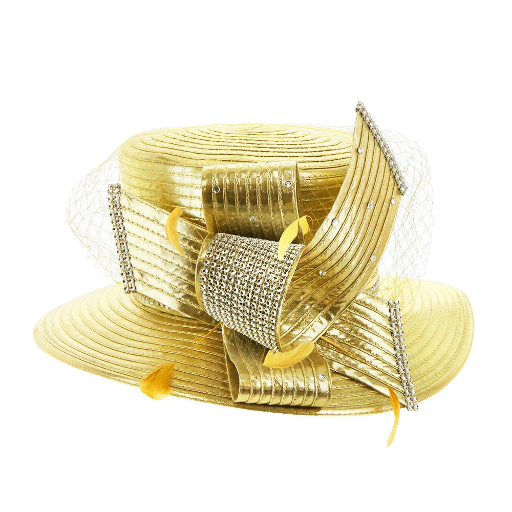 HTB2034 G GOLD DRESSY CHURCH HAT WITH RHINESTONES AND NETTING - 08 ... 21460e4db85