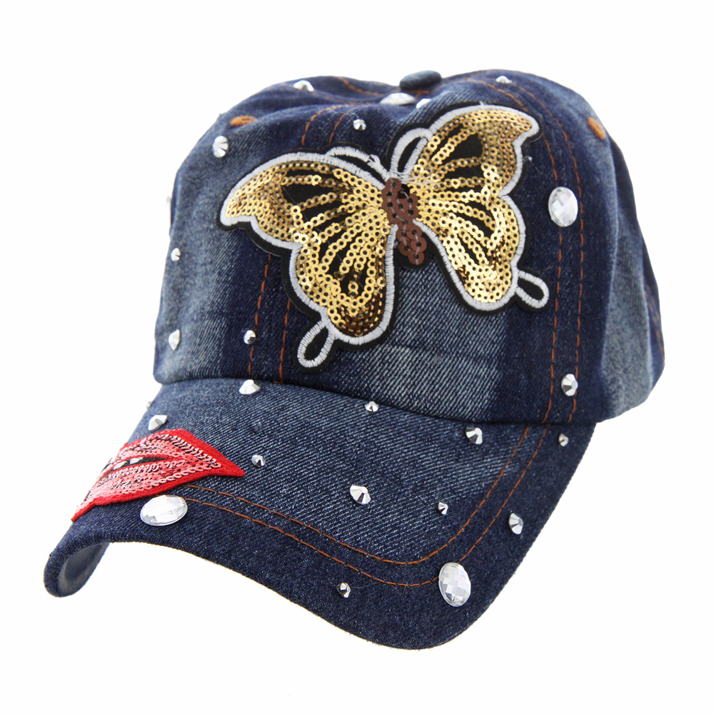 Htc804 Butterfly Kiss My Lips Denim Cap With Studs Casual