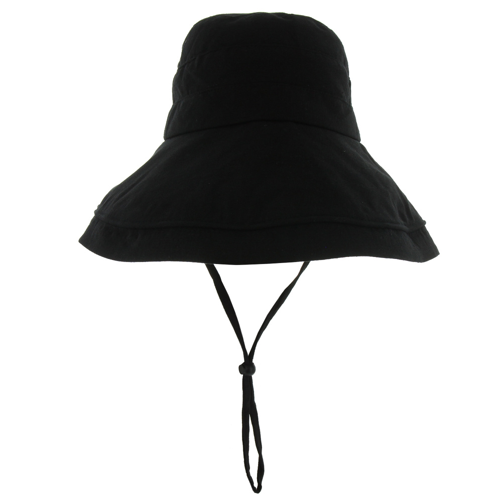 Htf1106 Bk Washed Cotton Bucket Hat W String Casual Summer