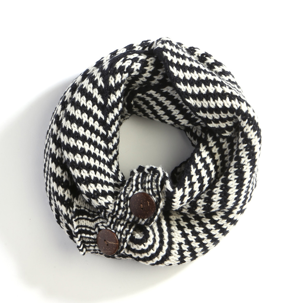 LOF183 NV Houndstooth Knit Pattern Infinity Scarf With Buttons ...
