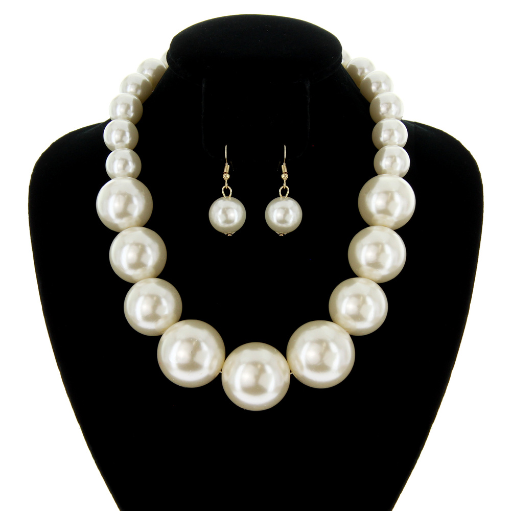 Npy095 Gcr Large Pearls Chunky Necklace Set