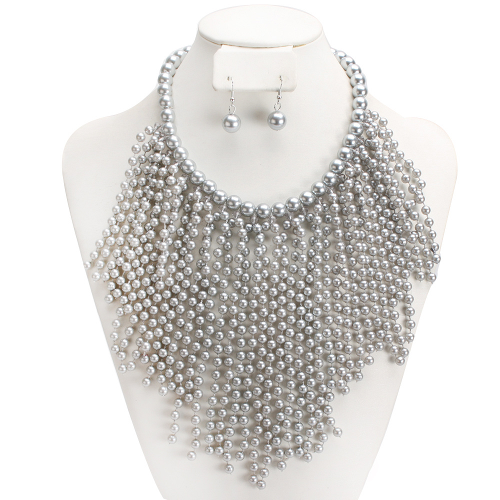 npy6677 rgy grey pretty bib necklace w pearls
