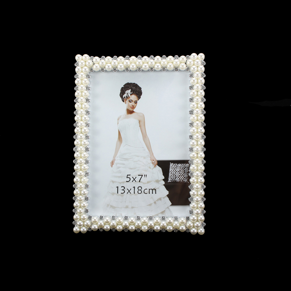 PIC918 WEDDING FRAME WITH PEARLS AND DIAMONDS 5X7 - Picture Frames