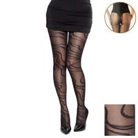 ABSTRACT LINE PANTYHOSE STOCKING