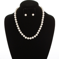 10MM Pearl Strand Necklace and Earrings Set