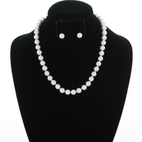 10Mm Pearl Strand Necklace And Earrings Set 15643Whs