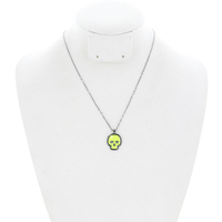 Halloween Theme Neon Skeleton Head Pendant Necklace 15943Hnebn