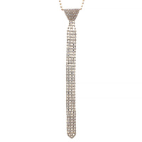 6 LINE RHINESTONE TIE NECKLACE
