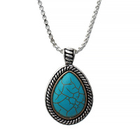 CHAIN NECKLACE W/ TEARDROP TURQUOISE PENDANT