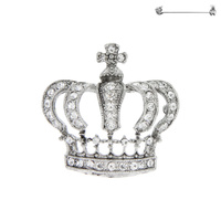 CROWN PIN WITH RHINESTONES