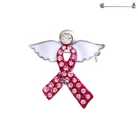 PINK RIBBON W/ WINGS PIN