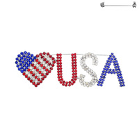Rhinestone Patriotic Flag Heart With Usa Brooch Pin 2
