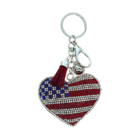 RHINESTONE HEART FLAG KEY CHAIN