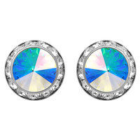 11Mm Rondelle Swarovski Crystal Post Earrings 40003Eab