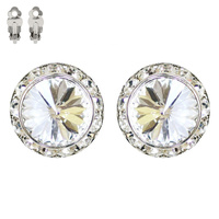 15MM Rondelle Swarovski Crystal Clip Earrings