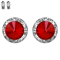 15Mm Rondelle Swarovski Crystal Clip Earrings 40005Celsi