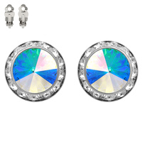 20MM Rondelle Swarovski Crystal Post Earrings (CLIP)