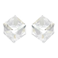 6Mm Cube Swarovski Crystal Stud Earrings 40010Ecr