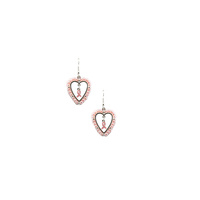 PINK RIBBON IN HEARTPEARL EARRING