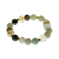NATURAL GLASS BEADED STRETCH BR