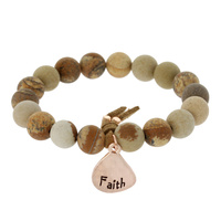 GENUINE STONE STRETCH BRACELET W/ FAITH