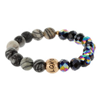 BEAD AND GENUINE STONE STRETCH BR W/ LOVE