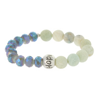 BEAD AND GENUINE STONE STRETCH BR W/ HOPE