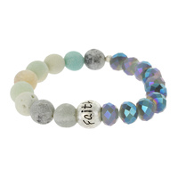 BEAD AND GENUINE STONE STRETCH BR W/ FAITH