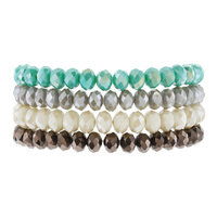 FOUR STRAND GLASS BEAD STACKABLE BRACELET