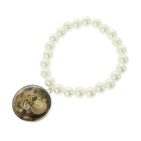 PEARL STRETCH BR W/ SEA SHELL PENDANT