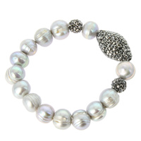 FRESH WATER PEARL STRETCH BR W/ PAVE STONES