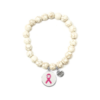 PINK RIBBON THEME STRETCH BRACELELT