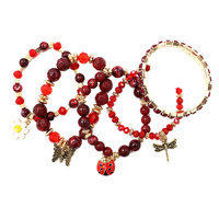 5 PC LADY BUG DRAGON FLY BUTTERFLY CHARM BR
