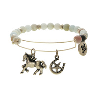HORSE AND HORSE SHOE CHARM NATURAL STONE BR