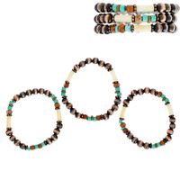 WESTERN NAVAJO PEARL 3 LAYERED STRETCH BRACELET