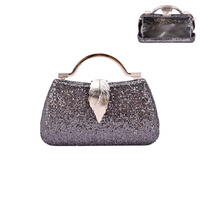 DISCO GLAM EVENING BAG LEAF CLOSURE