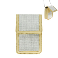 RHINESTONE CELL PHONE BAG WITH CHAIN STRAP