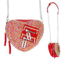 HEART SHAPED BODY CROSS BAG WITH STONE