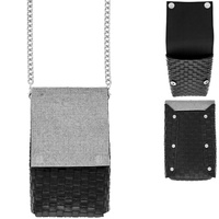 RHINESTONE COVERED WOVEN LEATHER CROSSBODY CELL PHONE BAG WITH CHAIN STRAP