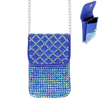 RHINESTONE MINI CROSSBODY CELL PHONE BAG WITH CHAIN STRAP