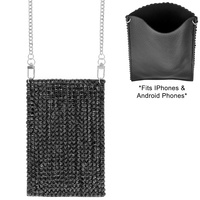 SPARKING RHINESTONE CROSSBODY CELL PHONE BAG WITH CHAIN STRAP