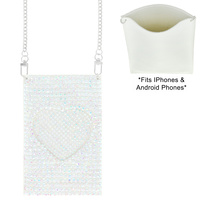 HEART RHINESTONE CELL PHONE BAG WITH CHAIN STRAP