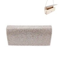 Rhinestone Covered Fabric Evening Clutch Purse With Chain Strap Bag3343G