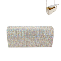 Rhinestone Covered Fabric Evening Clutch Purse With Chain Strap Bag3343Gab