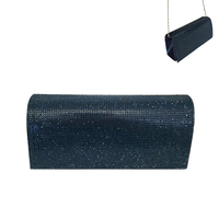 Rhinestone Covered Fabric Evening Clutch Purse With Chain Strap Bag3343Nv