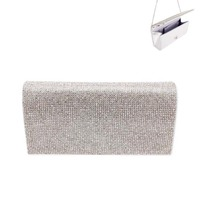 Rhinestone Covered Fabric Evening Clutch Purse With Chain Strap Bag3343S